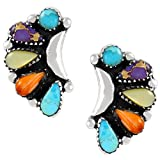 Turquoise Earrings Sterling Silver 925 Genuine Turquoise & Gemstones (Blossoms)