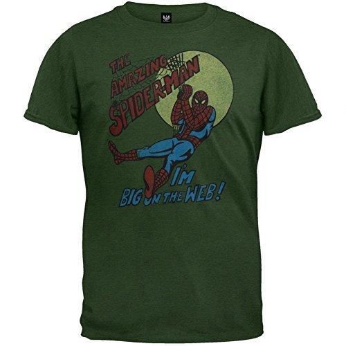 Spider-man - Mens Big On The Web Soft T-shirt Medium Dark Green