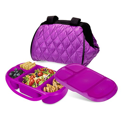 Smart Planet Portion Perfect Puffer Bag Set, Berry (Insulated Plastic Liner)