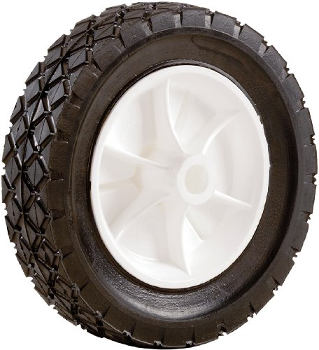Shepherd Hardware 9610 6-Inch Semi-Pneumatic Rubber Replacement Tire, Plastic Wheel, 1-1/2-Inch Diamond Tread, 1/2-Inch Bore Offset