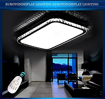 LED Deckenleuchte 2017 97x69tm Kristall Klar 97x69cm InklLEDs Und Fernbedienung Lichtfarbe Helligkeit