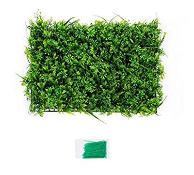 Miracliy Set of 2 Artificial Mixed Vine and Fern Greenery Panels Artificial Grass Privacy Ivy Fence with Zip Ties, 23.7''x 15.8''