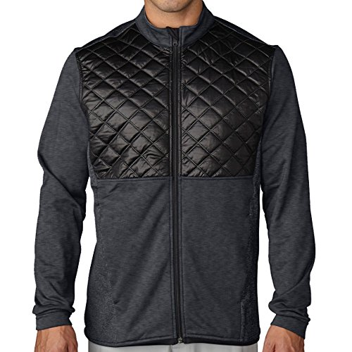 Adidas ClimaHeat Prime Quilted Full Zip Golf Jacket 2016 Dark Grey Heather/Black Small