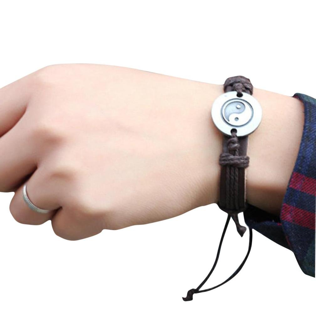 Leyorie Bracelet, Tai Chi Ying Yang Men Women Wristband Weave Braid PU Alloy Adjustable Cuff Bangle New