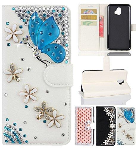 - ZTE Blade V8 Pro Case, ZTE Z978 Case, Luxury Bling Diamond Leather Skin Soft Bumper Card Slot Flip Stand Wallet Case Full Cover for ZTE Blade V8 Pro Z978, Blue Butterfly
