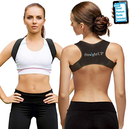 Back Brace Posture Corrector by StraightUP | Posture Brace for Upper Back Support for Woman and Man | Shoulder, Neck and High Back Pain Relief | Better Posture Boost Your Confidence (Best Posture Brace Reviews)