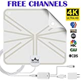 [Updated 2018 Version] HDTV Antenna Indoor Digital TV Antenna, Dumsamker 50 Miles Range HD Antenna with Detachable Amplifier Signal Booster and 13FT Coaxial Cable