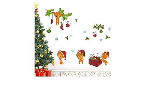 Zyzdsd Calcetines De Navidad Sombrero Gato Etiqueta De La Pared ...