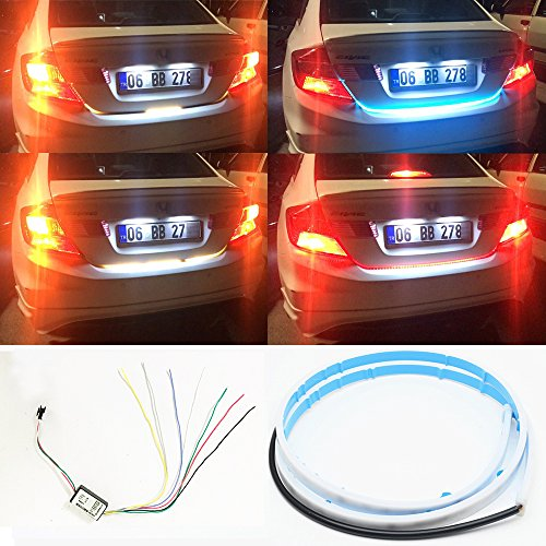 Car Led Strip Trunk Tail Brake Turn Signal Lights Flow Type Ice Blue Red Yellow White 60 inch Cool Car decoration Tailgate accessories