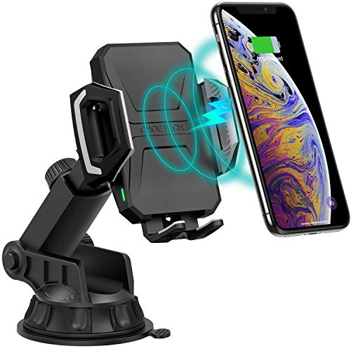CHOETECH Wireless Car Charger, 10W/7.5W Qi Wireless Fast Charging Car Mount, USB-C Dashboard Phone Holder Compatible with iPhone XS/XS Max/XR/X/8/8+, Samsung Note10/S10/S10+/Note 9/S9/S8/S8+, LG/Pixel (Galaxy Note 4 Car Mount)