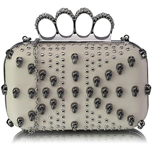 Prom Evening Women's LeahWard Skull Women Knuckle Clutch Evening SKULL IVORY CLUTCH Rings Detail Ring Bag For 7Rgnf8R