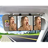 Eximone Foldable Car Sun Visor Vanity Mirror Makeup Cosmetic Wide Angle for Vehicle/Car/Truck/Van/SUV