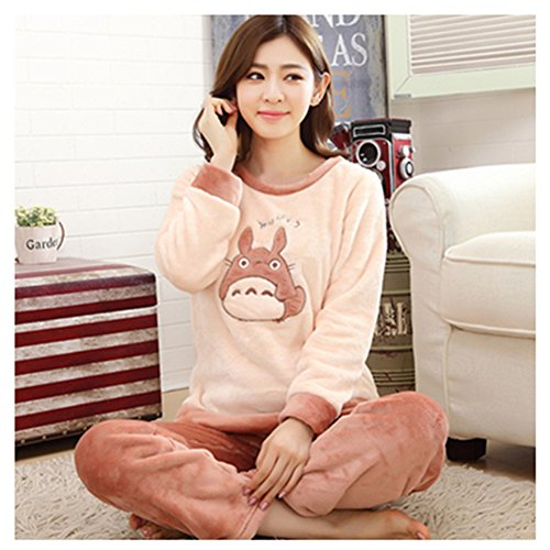 [Ladies & Girls Cartoon Totoro Coral Fleece Winter Pajamas Set , Size Xl] (Totoro Costume Girl)