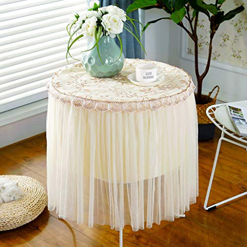 XIOOYO Tablecloth Chiffon Round Tablecloth, Extra Long Skirt, Round Various Sizes (Color : Coffee Flower, Size : Diameter 70cm) ()