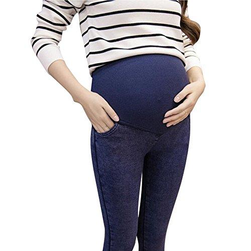 hibote Mujeres embarazadas alta elasticidad prop vientre pies con leggings de bolsillo 10-16 Delgado / azul