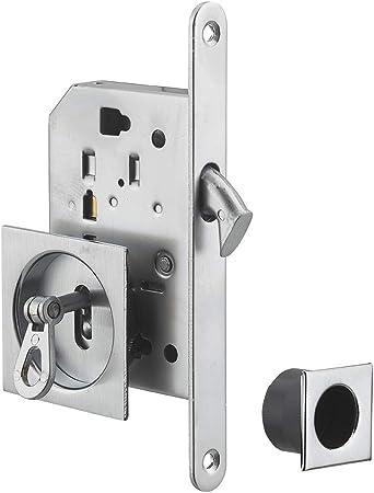 Thirard - Llave HOCK LOCK para puerta corredera de cromo satinado, rosetas cuadradas, 1 llave: Amazon.es: Bricolaje y herramientas