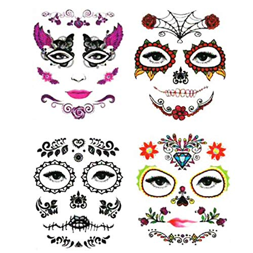 (IDOXE 4 Pack Halloween Face Tattoo Sticker Glitter Red Roses Day of The Dead Sugar Skull Temporary Tattoo for Halloween, Masquerade and Parties)