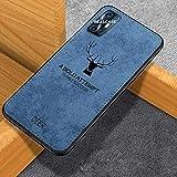 REALCASE Vivo V17 Soft Cover Case with Deer Design Cloth Hand Stitching Cover for Vivo V17 (D-Blue)