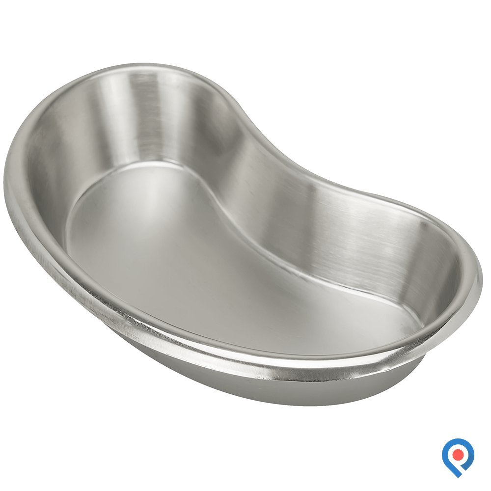 Pivit Antibacterial S.S Kidney Shaped Emesis Basin | Small 13 oz / 384.456cc | Medical Grade German (18/8) Stainless Steel Prevents Bacteria Growth | Easy-to-Clean Seamless Design with Rounded Edges