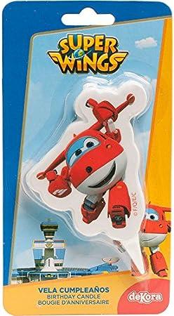 dekora 346177 Vela de Cumpleaños 2D de Jett de Super Wings, Cera, Multicolor, 7.5 x 4 x 2 cm: Amazon.es: Hogar