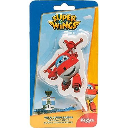 dekora 346177 Vela de Cumpleaños 2D de Jett de Super Wings, Cera, Multicolor, 7.5 x 4 x 2 cm