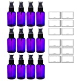 Purple 2 oz Boston Round PET (BPA Free) with Treatment Pump (12 pack) + Labels