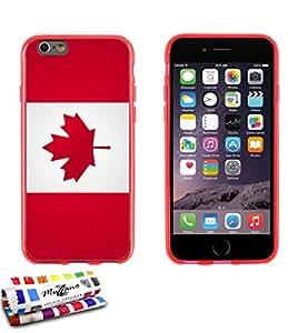 Carcasa Flexible Ultra-Slim APPLE IPHONE 6 / 6S de exclusivo motivo [Bandera Canada] [Roja] de MUZZANO  + ESTILETE y PAÑO MUZZANO REGALADOS - La Protección Antigolpes ULTIMA, ELEGANTE Y DURADERA para su APPLE IPHONE 6 / 6S