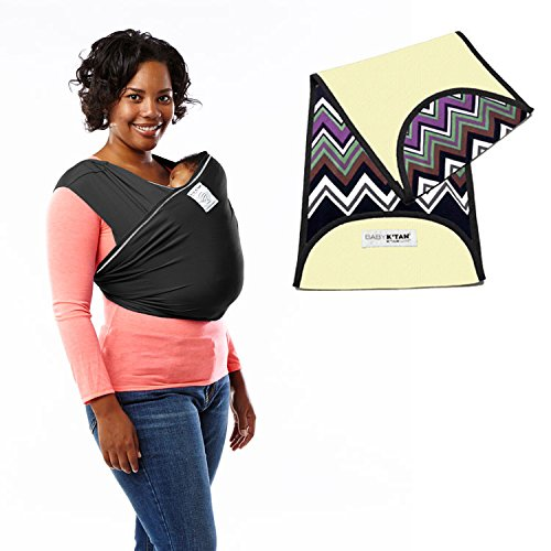 Baby K'tan Active Baby Carrier in Black + Natural Zig Zag K'tanCloth (X-Large)