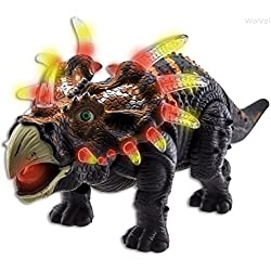 WolVol Walking Triceratops Dinosaur Toy Figure with Many Lights & Loud Roar Sounds, Real Movement (Battery Powered)