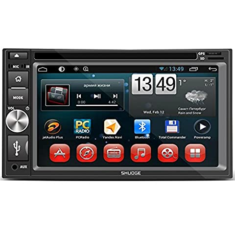 """SHUOGE GPS Navigation Car DVD 6.95"""" Android 5.1 System Double Din Car Stereo Head Unit Bluetooth GPS AM/FM Radio Receiver Support High-Speed Touch / A2DP/ Call (Dab Car Audio)"""