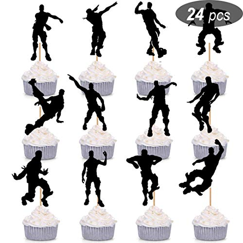 Price comparison product image 24 Pcs Dance Floss Cupcake Toppers for Game Themed Happy Birthday Cake Decorations Party Supplies
