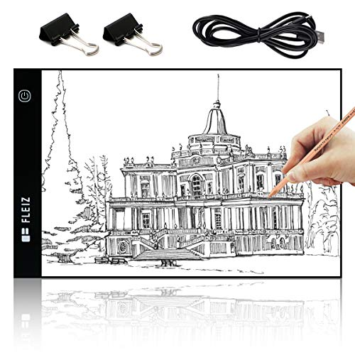 Elfeland A4 Size Ultra-Thin LED Light Box Tracer USB Power Cable Stepless Dimmable Brightness Portable Artcraft Tracing Light Box Light Pad for Artists Drawing Sketching Animation Designing