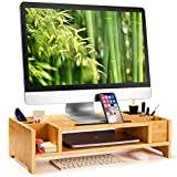 HUANUO Monitor Stand - 2 Tier Bamboo Monitor Riser with Adjustable Storage Organizer for Laptop, Cellphone & Keyboard, Versatile as Printer Stand, Desktop Stand