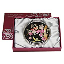 Mother of Pearl Pink Korean Plum Flower Tree and Bird Design Double Compact Cosmetic Makeup Magnifying Handbag Pocket Beauty Purse Mirror