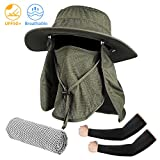 Seektop Fishing Hat, Men Women UPF 50+ Protection Outdoor Sun Hiking Hat with Removable Neck Flap and Face Cover Mask -Kit Include Cooling Arm Sleeves, Cooling Towel (Deep Green)