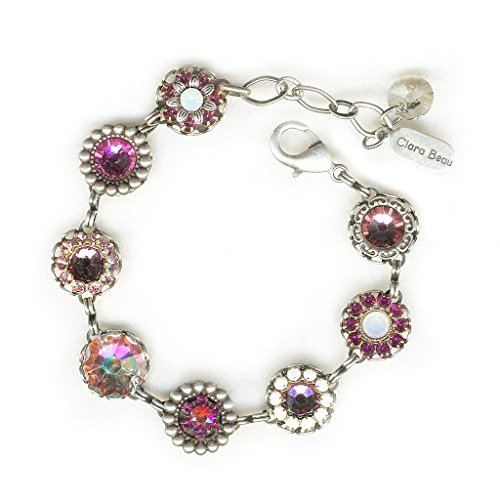(Clara Beau Lovely Rosaline Swarovski crystal SilverTone Filigree Cluster Bracelet BF155)