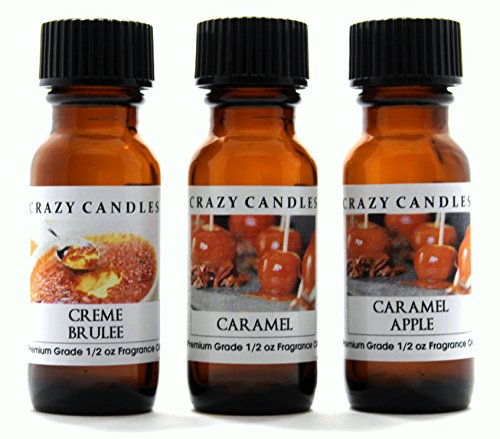Apple Candle Tarts Caramel - Crazy Candles 3 Bottles Set, 1 Creme Brulee, 1 Caramel, 1 Caramel Apple 1/2 Fl Oz Each (15ml) Premium Grade Scented Fragrance Oils By