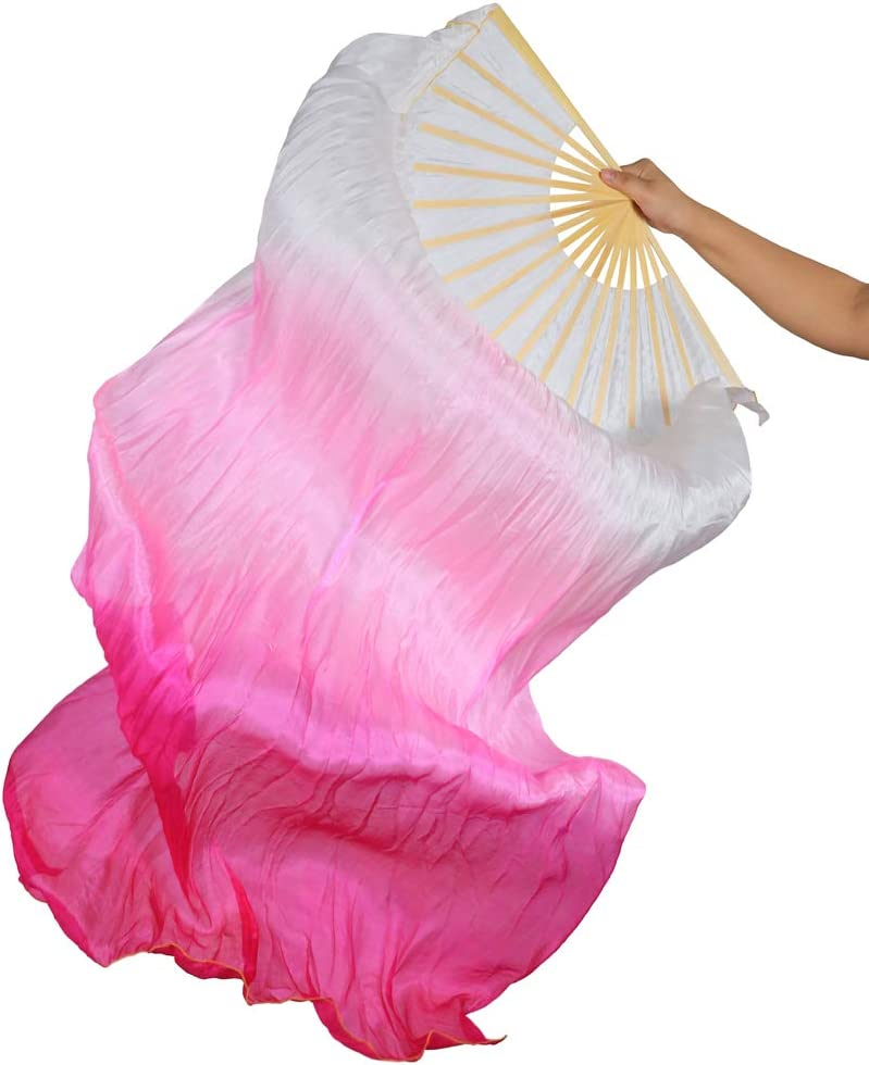 B Baosity Chinese Dance Fan Veil Hand Made Belly Dancing Silk Bamboo Long Fan Veils