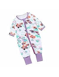 Newborn Infant Baby Girl Flower Purple Zip Front Long Sleeve Sleep 'N Play
