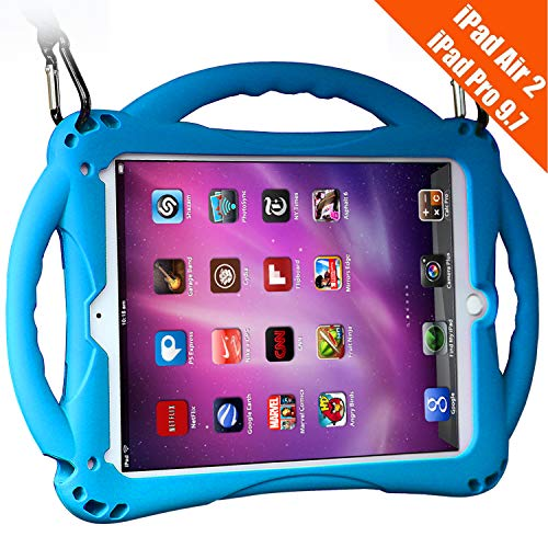 TopEsct iPad Air 2 Case for Kids, Shockproof Silicone Handle Stand Case Cover&(Tempered Glass Screen Protector) for iPad Air 2 and iPad Pro 9.7 (Blue)
