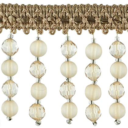 Image of Beaded Trim BB-987-16/24 2-1/4-Inch Acrylic with 1/2-Inch Braid, 15-Yard Roll, Wheat Beaded Trim