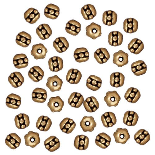 TierraCast Antiqued 22K Gold Plated Pewter Beaded Spacer Beads 3x3mm (50) ()