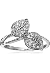 Sterling Silver Leaf Diamond Ring (1/10 cttw, I-J Color, I2-3 Clarity)