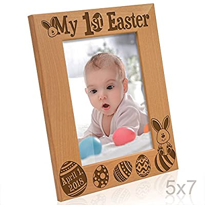 Kate Posh - My First (1st) Easter Picture Frame - Engraved Natural Wood Photo Frame - Easter Decorations, Baby Easter Gifts, First Easter GIfts, Easter eggs and Bunny decorations