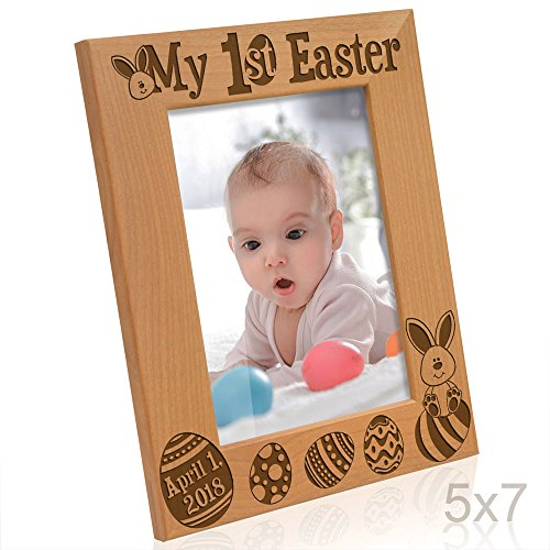 Kate Posh - 2018 My First (1st) Easter Picture Frame - Engraved Natural Wood Photo Frame - Easter Decorations, Baby Easter Gifts, First Easter Gifts, Easter eggs and Bunny decorations (5x7-Vertical)