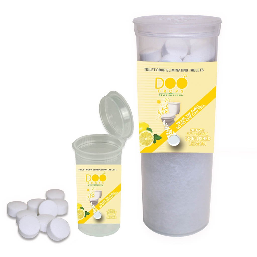 Doo Drops Toilet Odor Eliminating Tablets You Drop in Before You Go- 62 Lemon Scented Drop & Go, No Waiting/Home & Travel