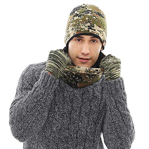 Winter Beanie Hat Scarf Gloves Knit Skull Cap Infinity Scarves Touch Screen Mittens for Men Women 3 PCS Knitted Set (Olive)