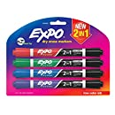 EXPO Dry Erase 2-in-1 Markers, Chisel Tip, Assorted, 4-Count