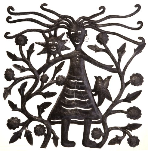 Steel Drum Haitian Recycled (Le Primitif Galleries Haitian Recycled Steel Oil Drum Outdoor Decor, 23 by 23-Inch, Girl in Garden)