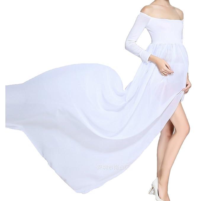 Hibote Vestidos de Maternidad para Mujer - Fuera del Hombro, Gasa, Vestidos Largos para